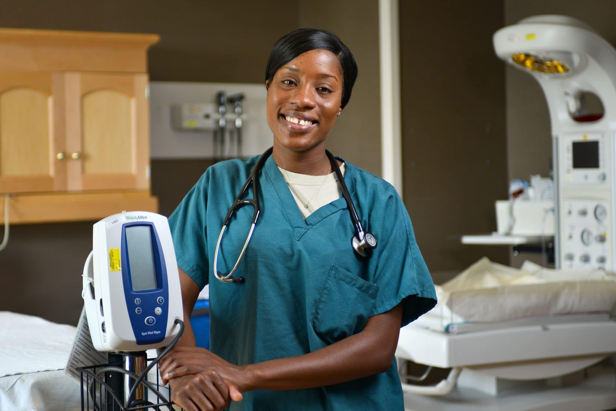 Smiling African-American healthcare professional
